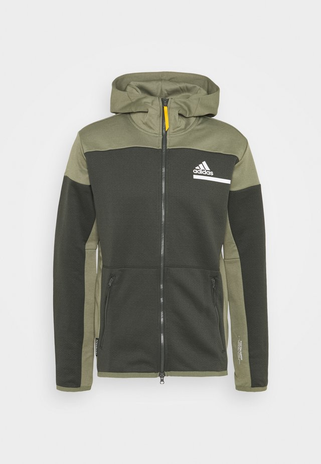HOODIE AEROREADY HOODED TRACK  - Felpa aperta - dark green