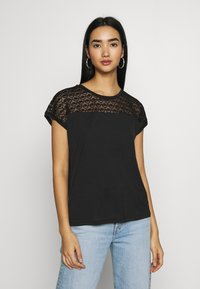 Vero Moda - VMSOFIA LACE TOP - T-shirt basic - black - 0