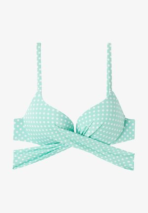Bikini top - ice mint pois bianco