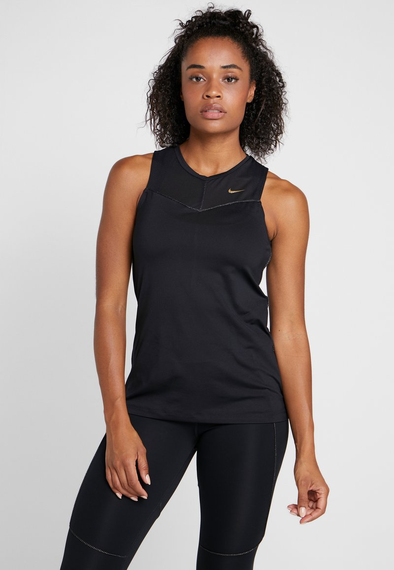 Nike Performance - FIERCE TANK - Sports shirt - black/metallic gold
