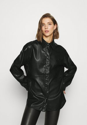 LEXI PERFORATED - Button-down blouse - black
