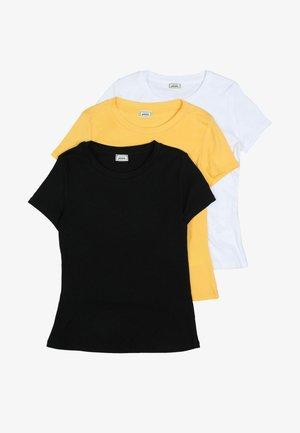 3 PACK - T-shirt basic - black/yellow/white
