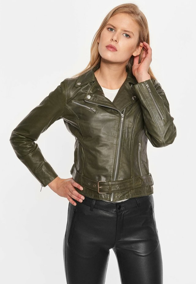 Leather jacket - army green