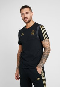 adidas Performance - REAL MADRID TEE - Club wear - black/gold - 0