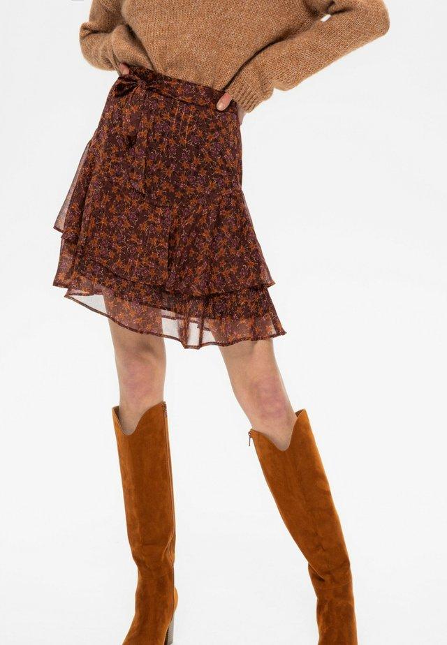 Jupe trapèze - imprimé marron