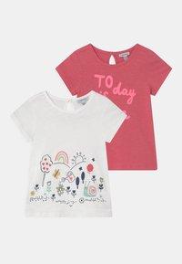 OVS - 2 PACK - Print T-shirt - sunkist coral/bright white - 0