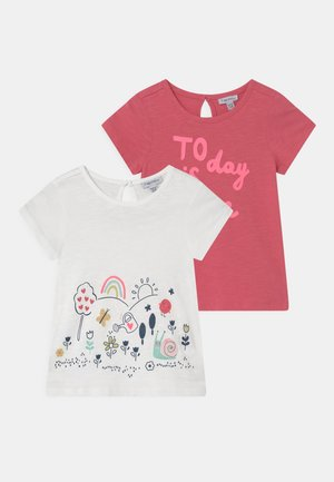 2 PACK - Print T-shirt - sunkist coral/bright white