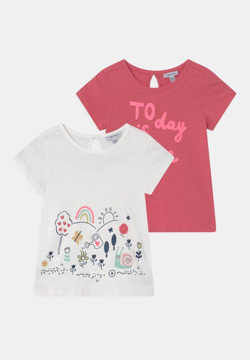 OVS - 2 PACK - Print T-shirt - sunkist coral/bright white