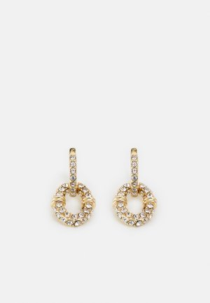 PAVE LINK HOOP DROP - Earrings - gold-coloured/cry