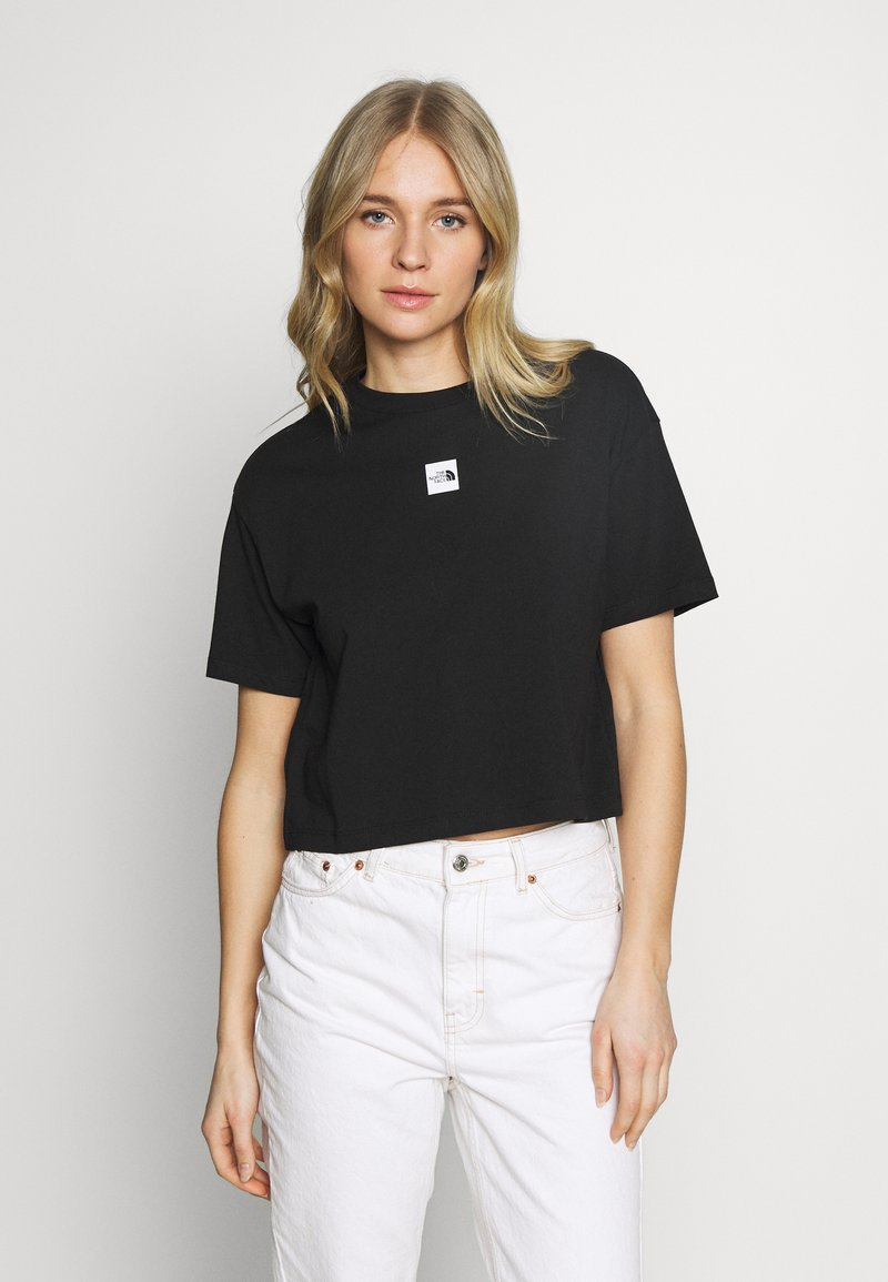 The North Face - W CENTRAL LOGO CROP TEE - T-shirt imprimé - black/white