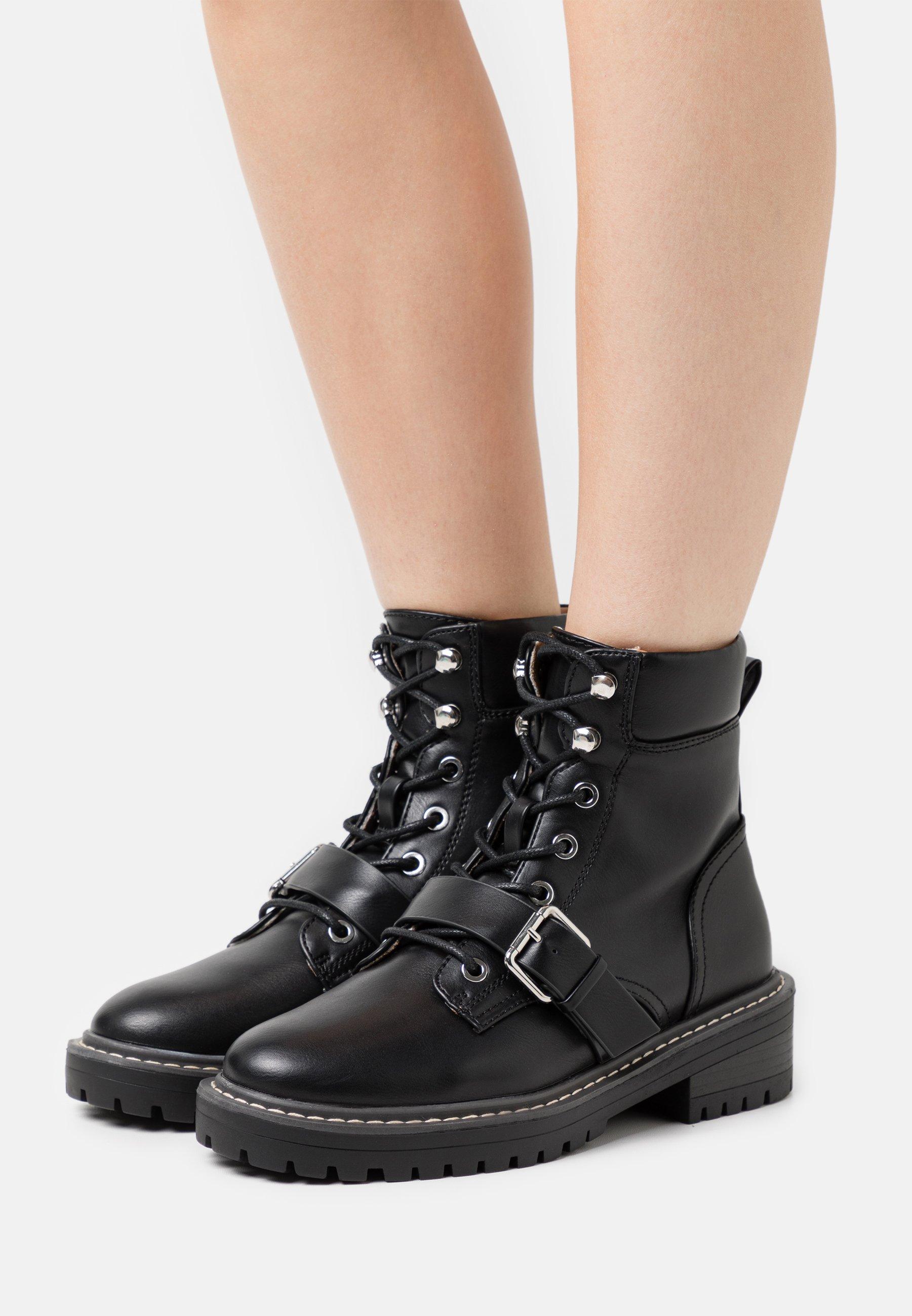 Femme ONLBOLD PADDED LACE UP BOOTIE  - Bottines à lacets - black