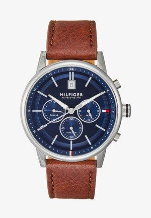 CASUAL - Zegarek chronograficzny - cognac/silver
