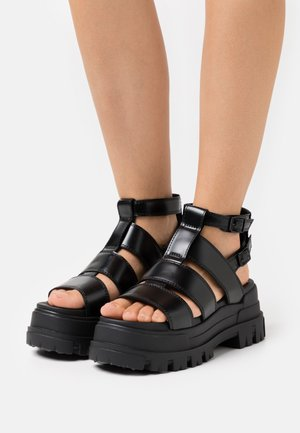 VEGAN ASPHA  - Platform sandals - black