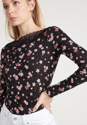 Long sleeved top - black floral print