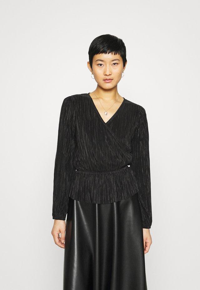 SHINE PEPLUM WRAP - Bluzka z długim rękawem - true black