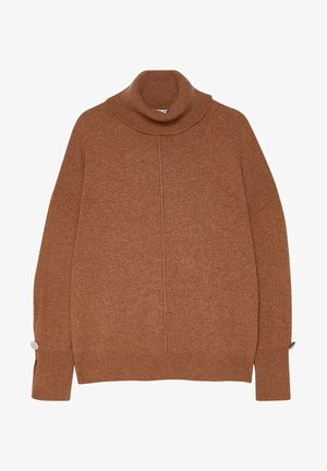 TURTLENECK WITH JEWEL BUTTONS - Jumper - tobacco brown