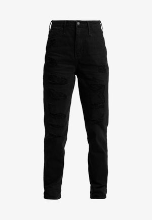 ULTRA HIGH RISE MOM - Džíny Slim Fit - black destroy