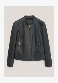Massimo Dutti - Faux leather jacket - blue-black denim - 0