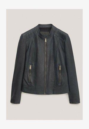 Faux leather jacket - blue-black denim
