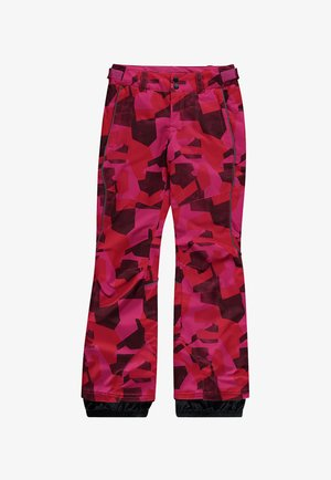 Snow pants - red aop w/ blue