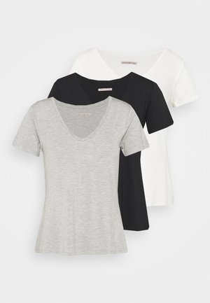 3 PACK V NECK  - T-shirt basic - black / white / light grey