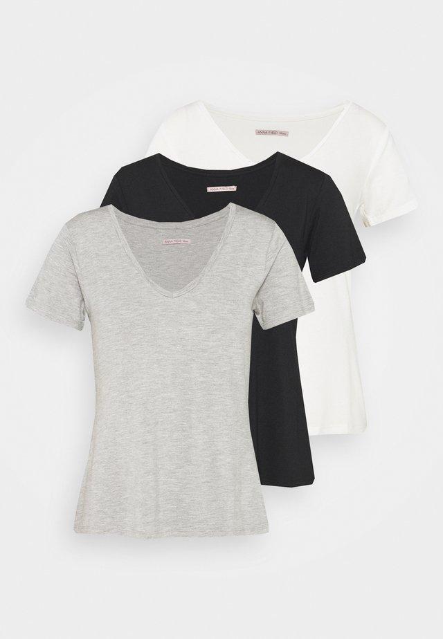 3 PACK V NECK  - T-Shirt basic - black / white / light grey