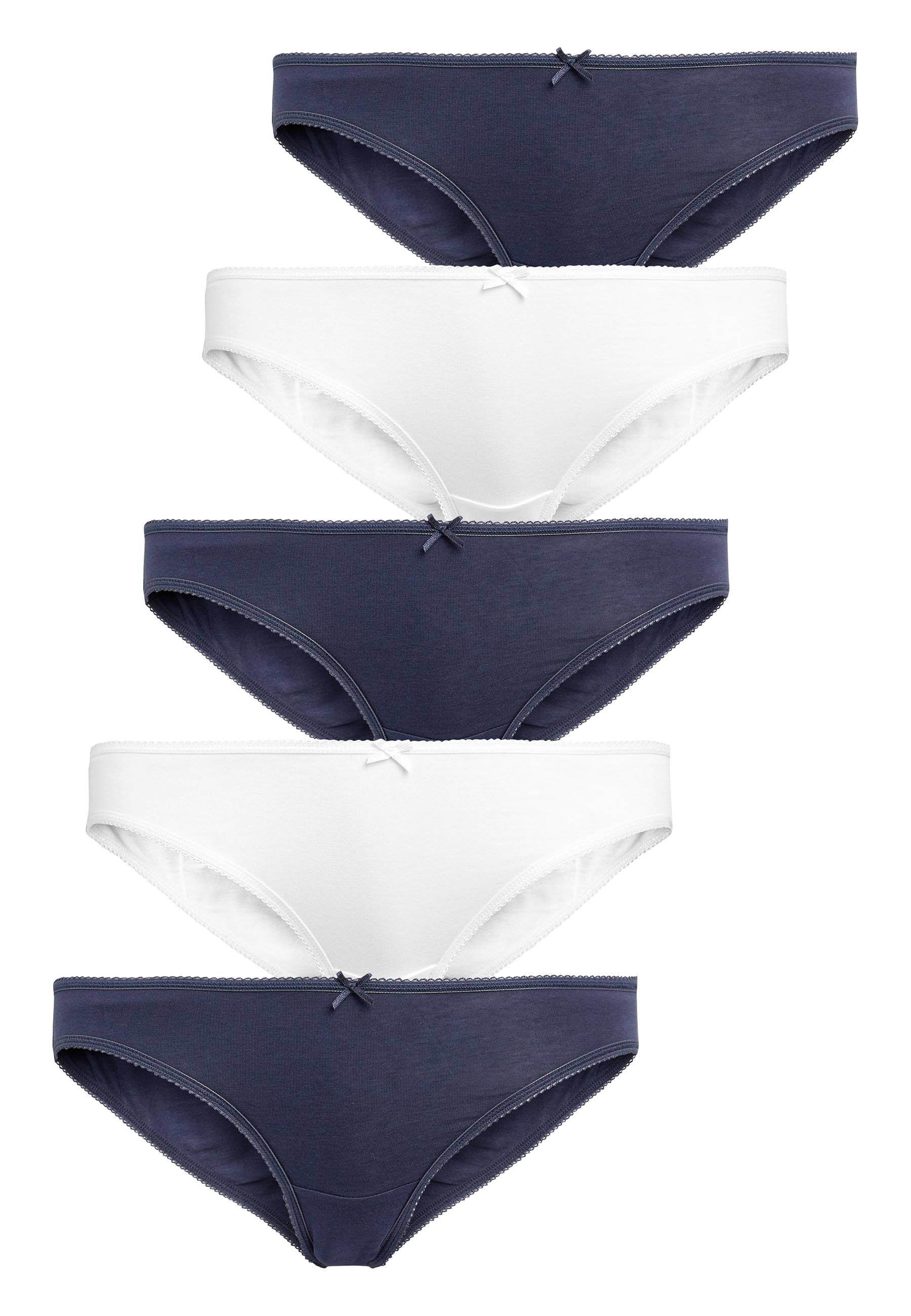 Donna NAVY/WHITE BIKINI COTTON KNICKERS FIVE PACK - Slip