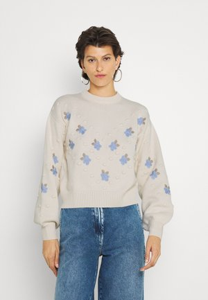 FLORA CROPPED JUMPER FLORAL EMBROIDERY - Pullover - cream