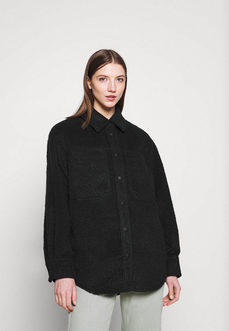 Topshop - OVERSHIRT - Short coat - navy