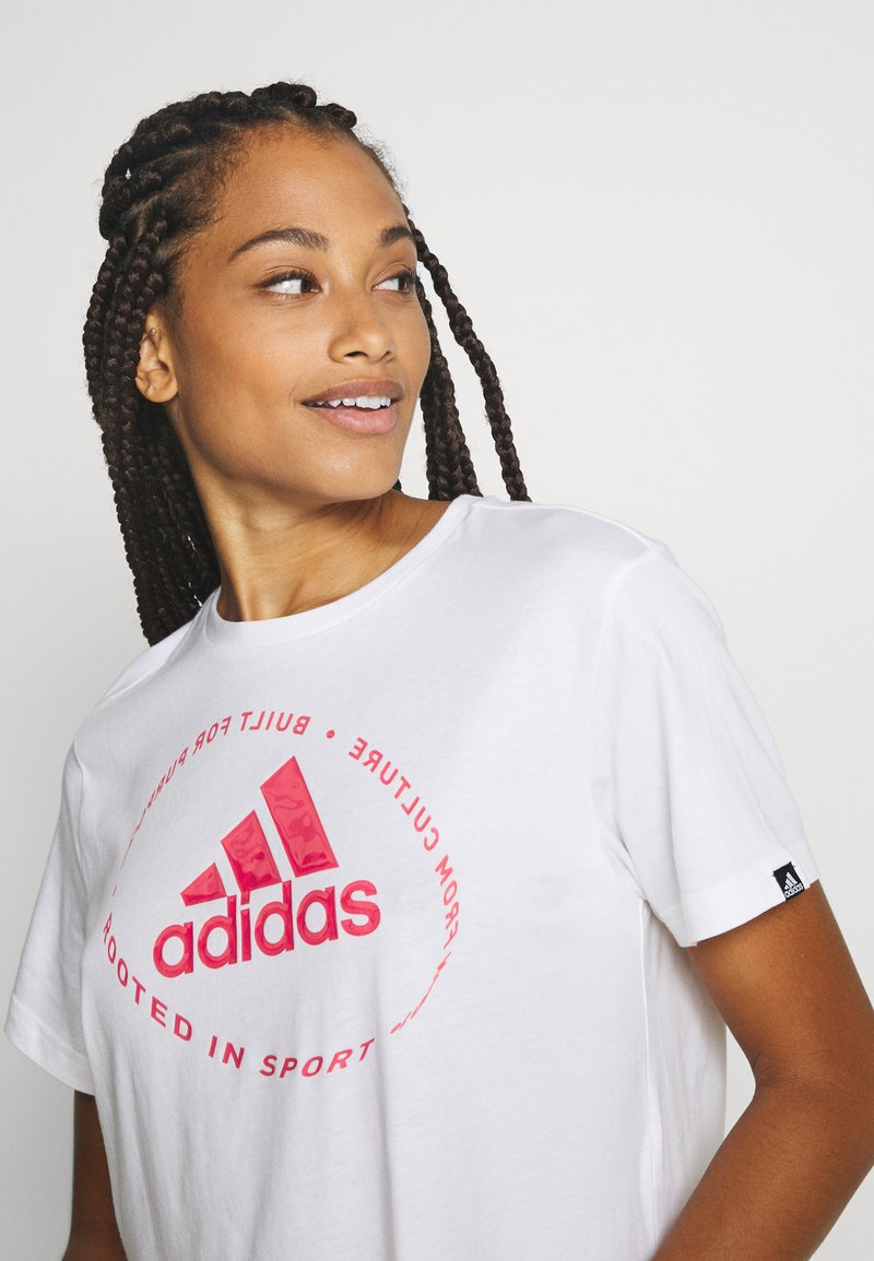 adidas Performance - CIRCLED TEE - Printtipaita - white
