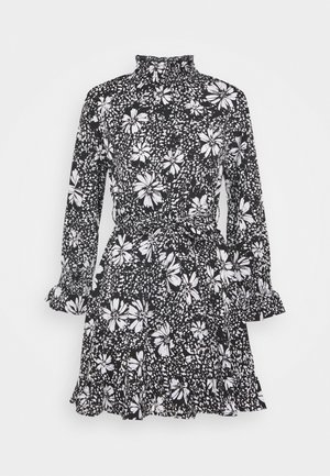 DAISY PRINT TIE WAIST MINI - Kjole - black pattern