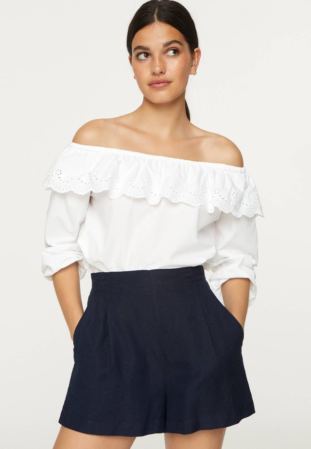 OFF-THE-SHOULDER BRODERIE ANGLAISE TOP - Débardeur - white
