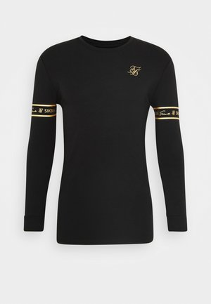 TECH SCRIPT TEE - T-shirt à manches longues - black/gold