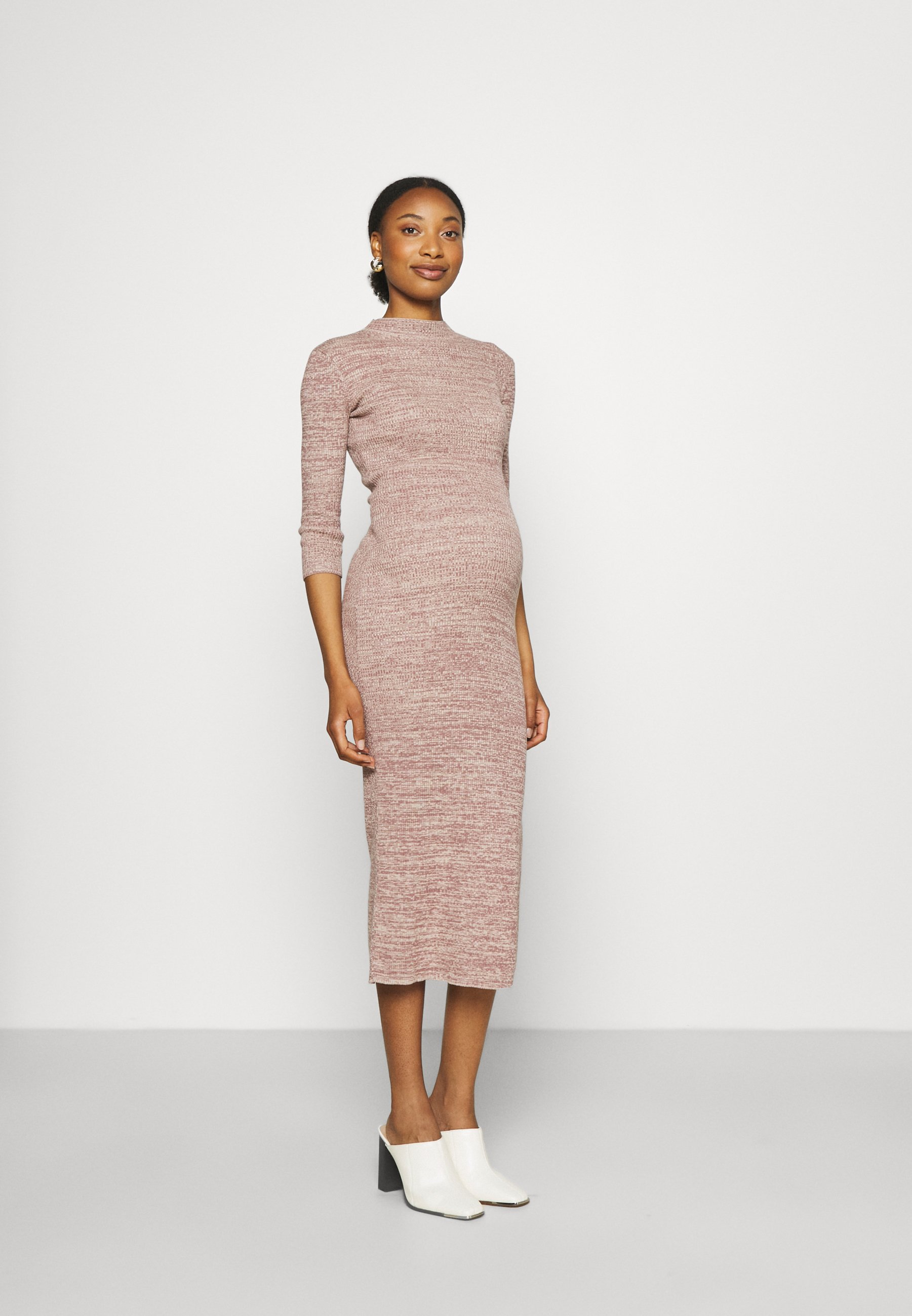 Women SPACE DYE MIDAXI DRESS WITH SLEEVES AND SIDE SPLIT - Jumper dress
