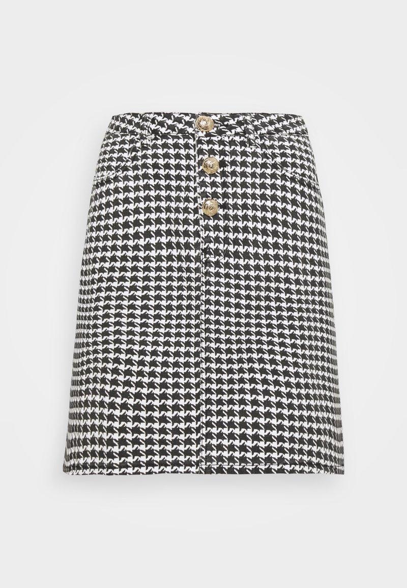 Missguided Tall - HOUNDSTOOTH SKIRT - Mini skirt - black
