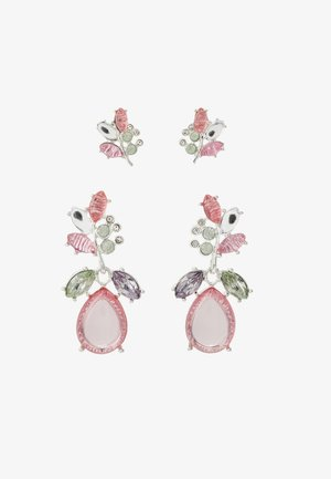 ONLBASTA EARRING 2 PACK - Náušnice - silver coloured/rose/pool blue