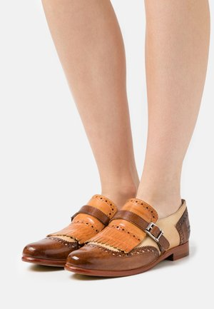 SELINA 2 - Slip-ons - mid brown/sand/tan/white/natural