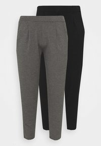 CAPSULE by Simply Be - TAPERED LEG TROUSERS 2 PACK  - Trousers - black/grey - 4