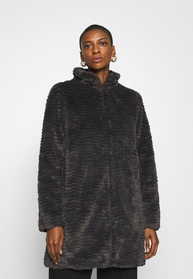 FUNNEL COLLAR TEXTURED LONGLINE  - Winter coat - slate