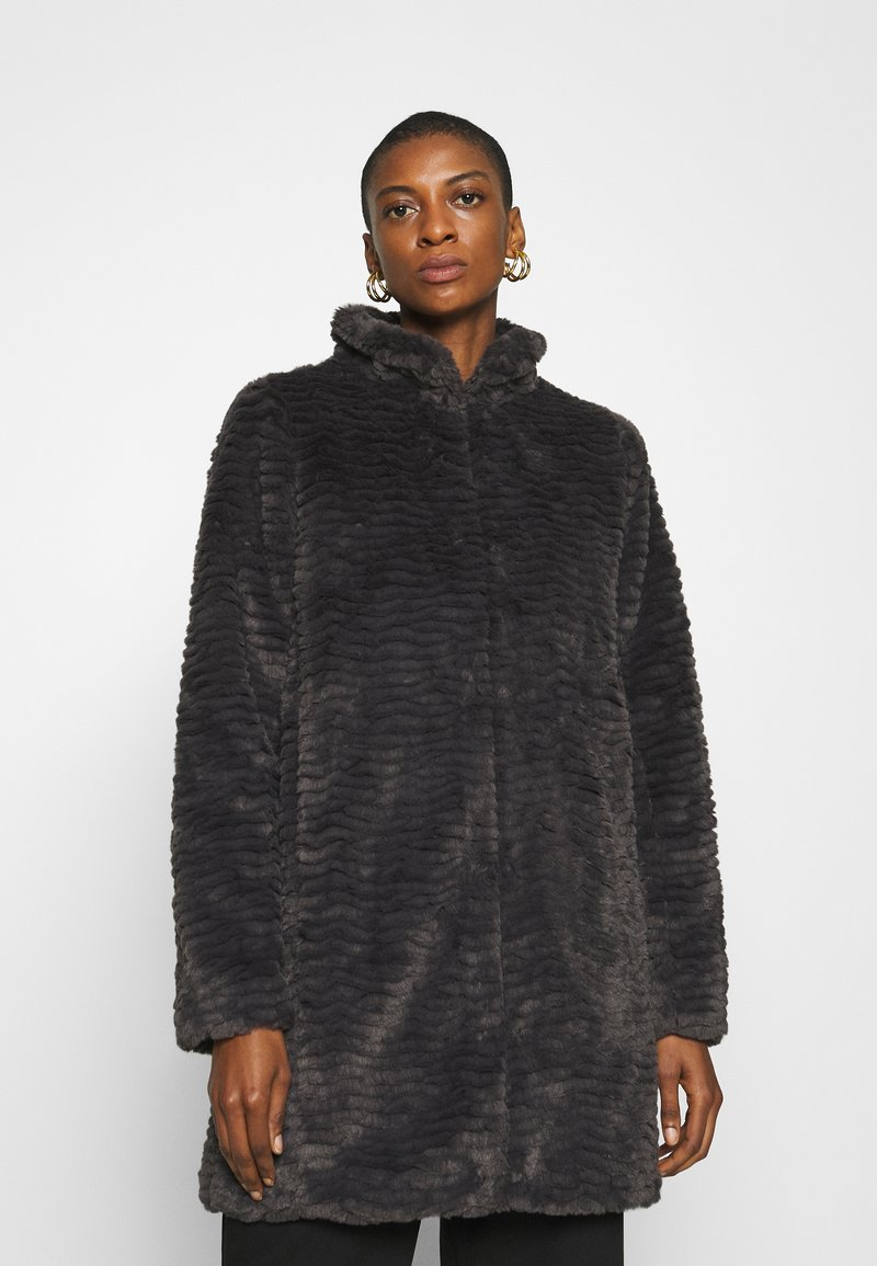 Dorothy Perkins - FUNNEL COLLAR TEXTURED LONGLINE  - Winter coat - slate