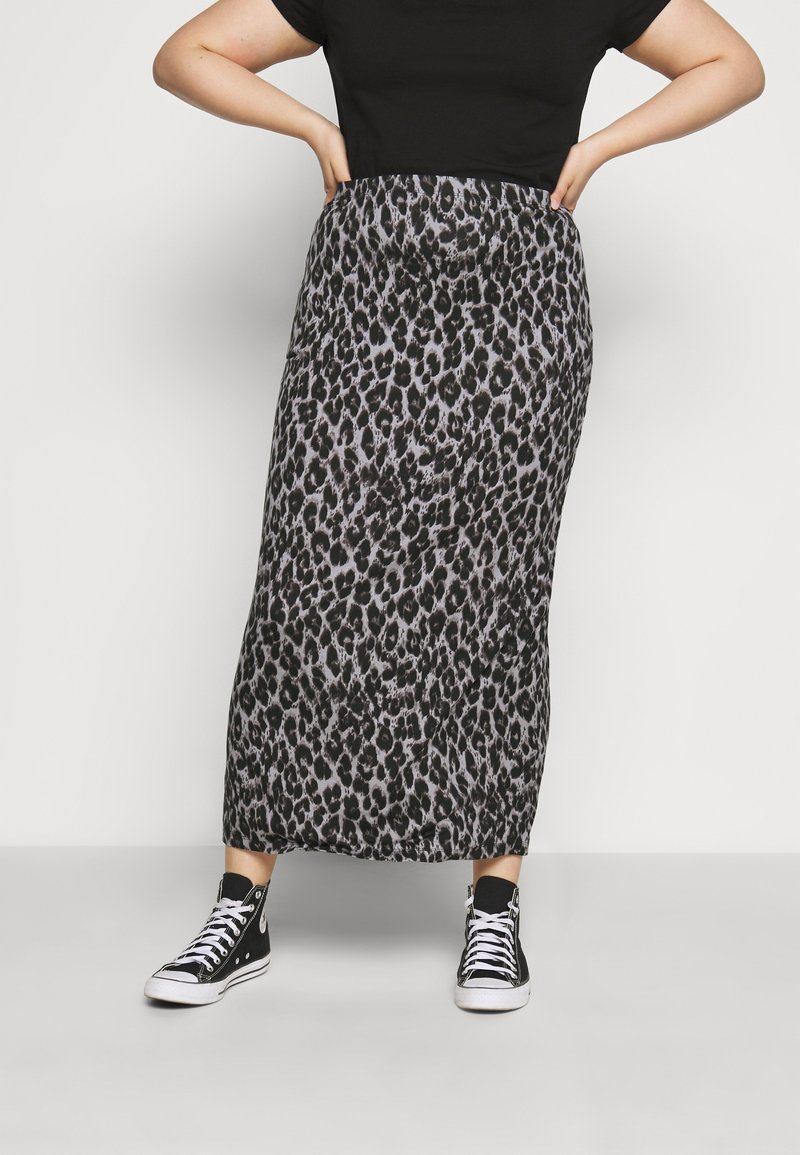 CAPSULE by Simply Be - LEOPARD PRINT TUBE SKIRT - Mini skirt - black/grey