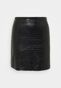 VEGAN CROC MINI SKIRT - Mini skirt - black