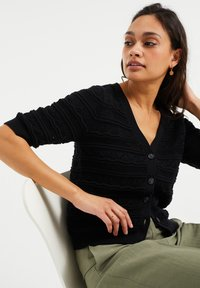WE Fashion - MET STRUCTUUR - Gilet - black - 4