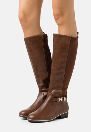 WIDE FIT AMOUR STRETCH BACK METAL  - Boots - tan