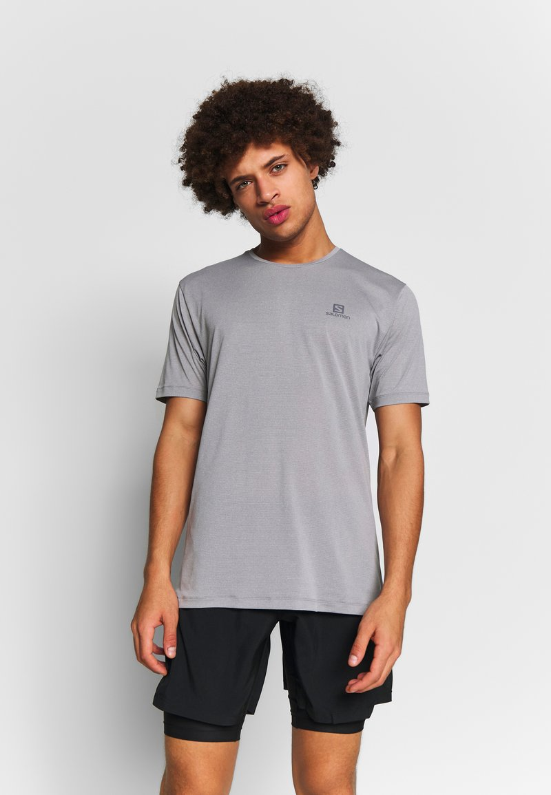 Salomon - AGILE TRAINING TEE - Basic T-shirt - alloy/heather