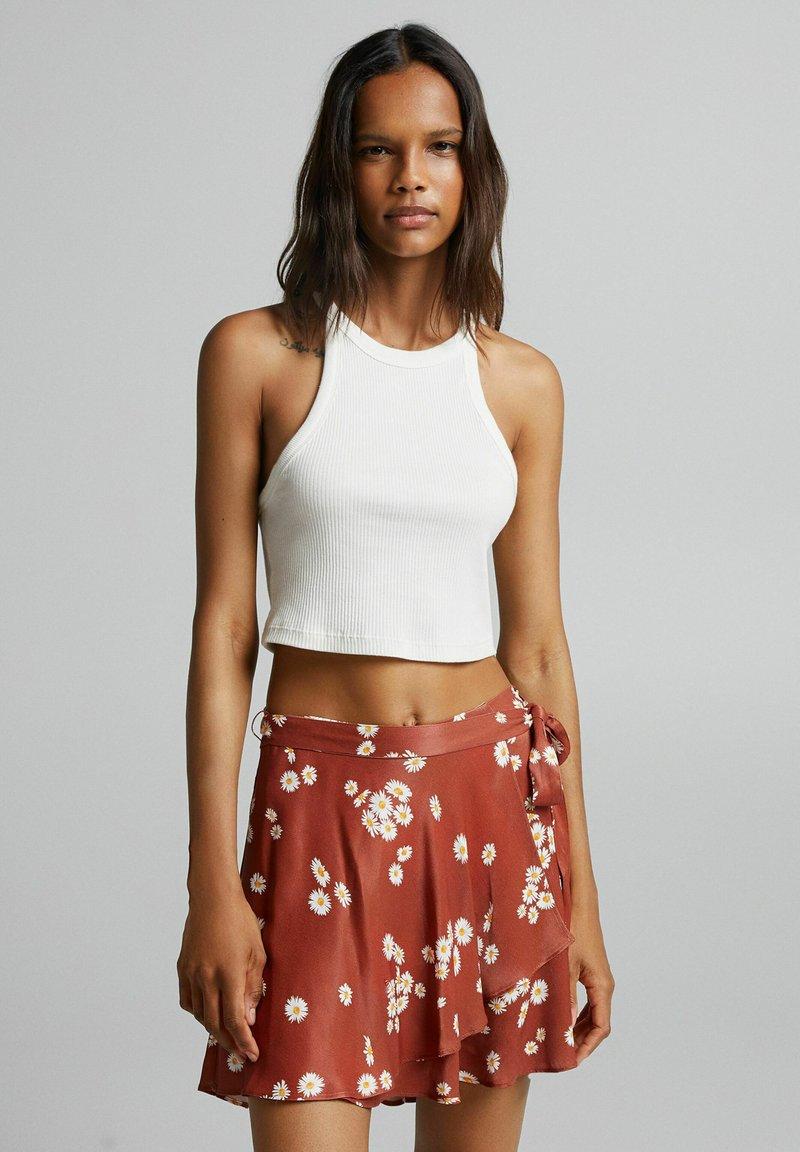 Bershka - Áčková sukně - brown