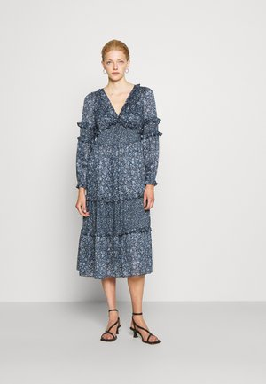 MAXI DRESS WITH MINI RUFFLES - Vestito lungo - chambray