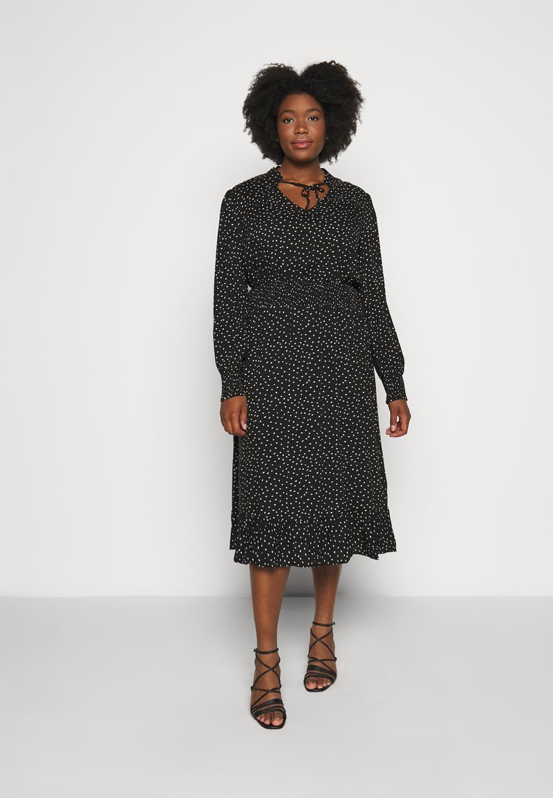 ONLY Carmakoma - CARLOLA CALF DRESS - Day dress - black/white