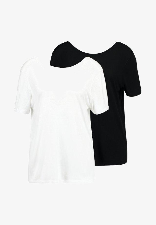 DEEP BACK TEE 2 PACK - Jednoduché triko - black/white