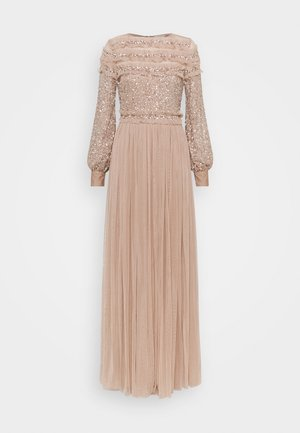 BLOUSON SLEEVE DELICATE SEQUIN MAXI DRESS WITH RUFFLES - Abito da sera - taupe blush